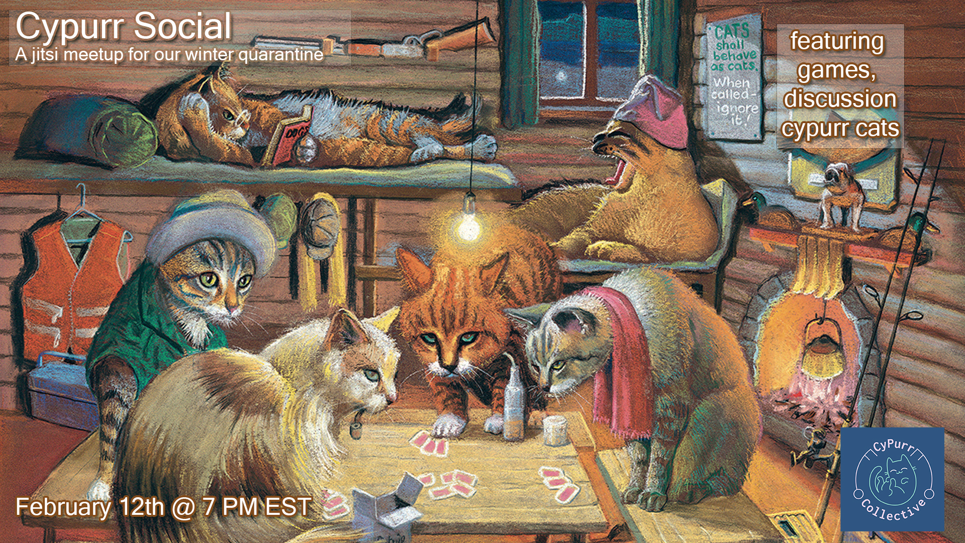 An illustration of cats in a cabin playing cards.